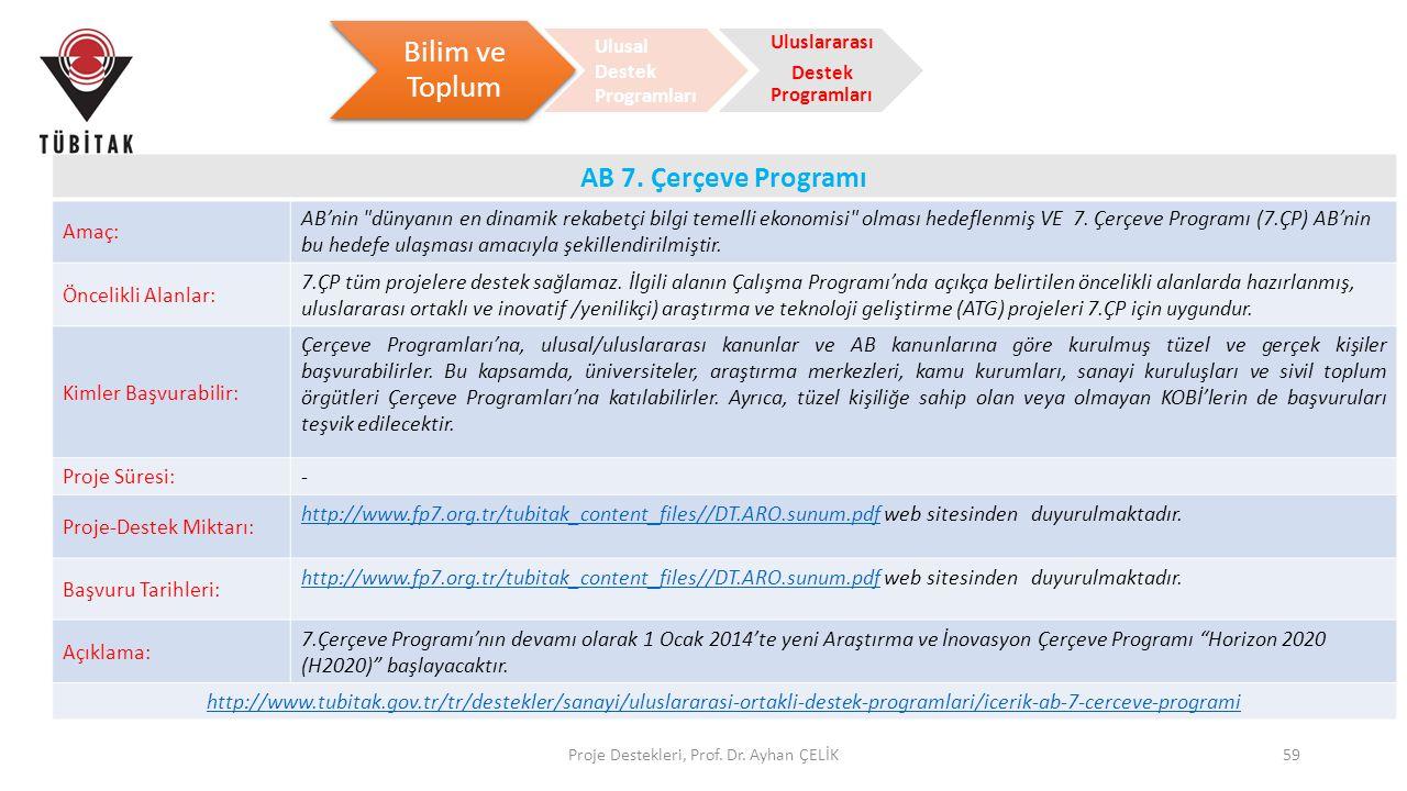 Proje Destekleri, Prof. Dr. Ayhan ÇELİK