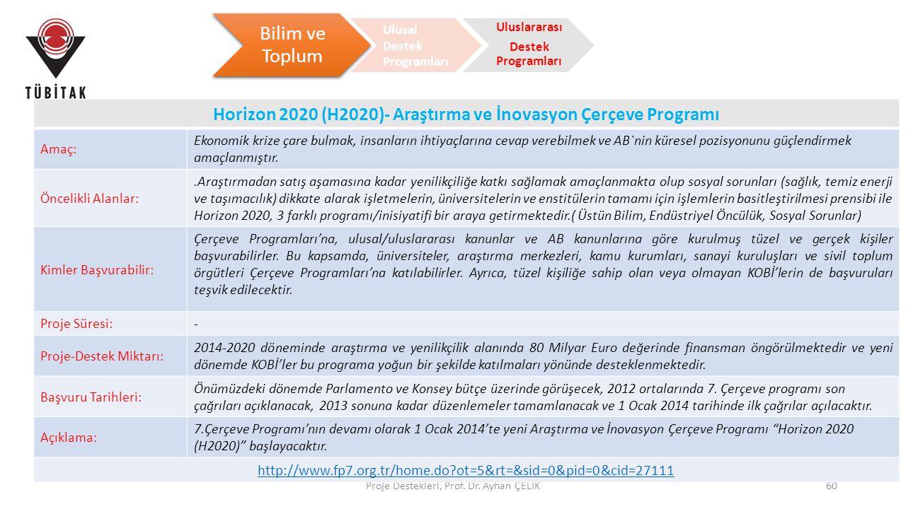 Horizon 2020 (H2020)- Araştırma ve İnovasyon Çerçeve Programı