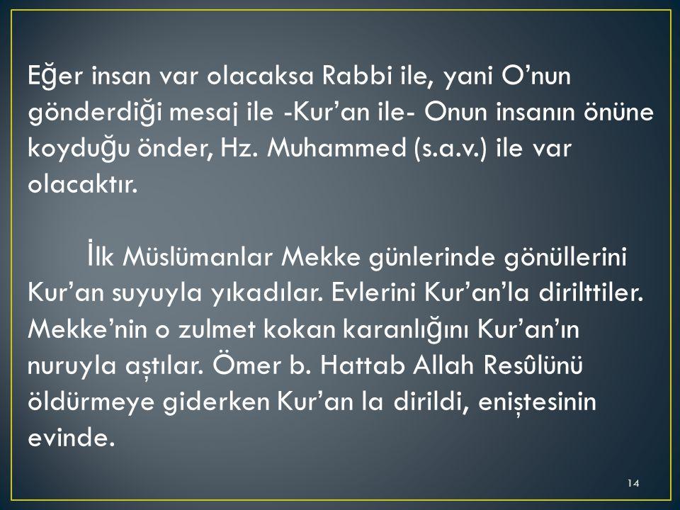Eğer insan var olacaksa Rabbi ile, yani O'nun gönderdiği mesaj ile -Kur'an ile- Onun insanın önüne koyduğu önder, Hz. Muhammed (s.a.v.) ile var olacaktır.