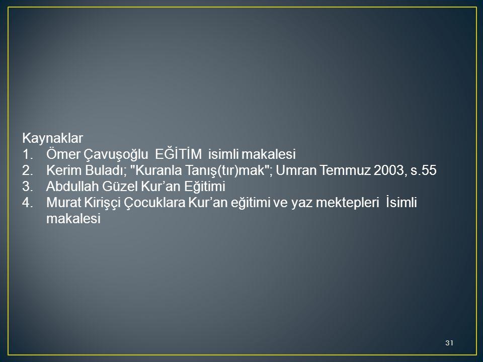 Kaynaklar Ömer Çavuşoğlu EĞİTİM isimli makalesi. Kerim Buladı; Kuranla Tanış(tır)mak ; Umran Temmuz 2003, s.55.
