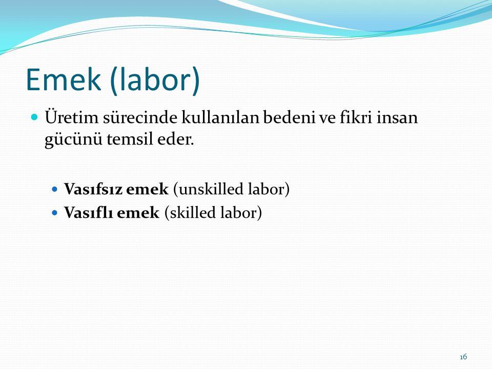 Emek (labor) Üretim sürecinde kullanılan bedeni ve fikri insan gücünü temsil eder. Vasıfsız emek (unskilled labor)