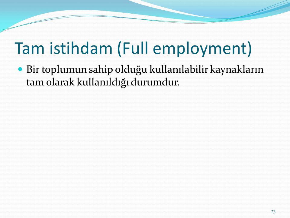 Tam istihdam (Full employment)