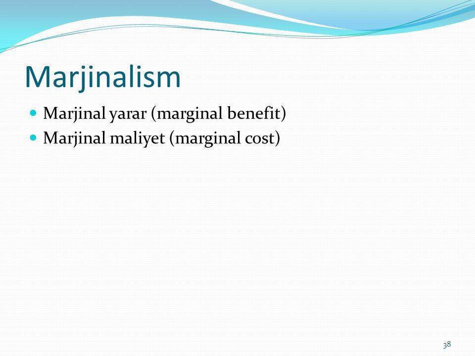 Marjinalism Marjinal yarar (marginal benefit)
