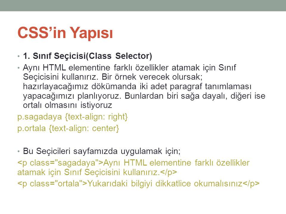CSS'in Yapısı 1. Sınıf Seçicisi(Class Selector)