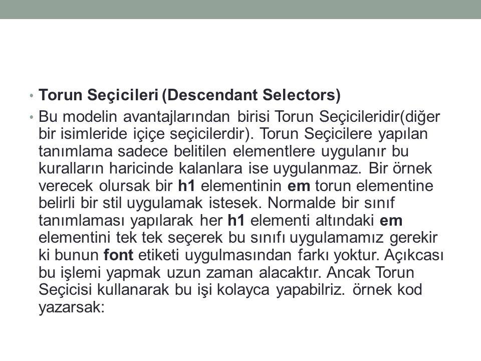 Torun Seçicileri (Descendant Selectors)