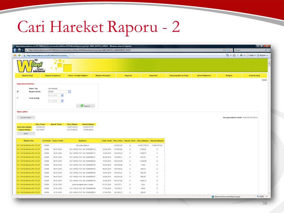Cari Hareket Raporu - 2