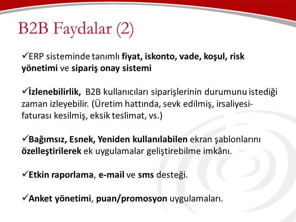 B2B Faydalar (2) ERP sisteminde tanımlı fiyat, iskonto, vade, koşul, risk yönetimi ve sipariş onay sistemi.