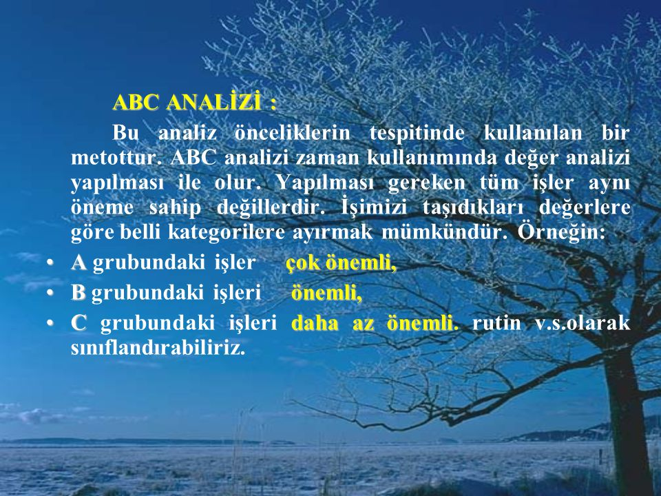 ABC ANALİZİ :