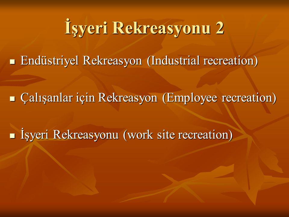 İşyeri Rekreasyonu 2 Endüstriyel Rekreasyon (Industrial recreation)