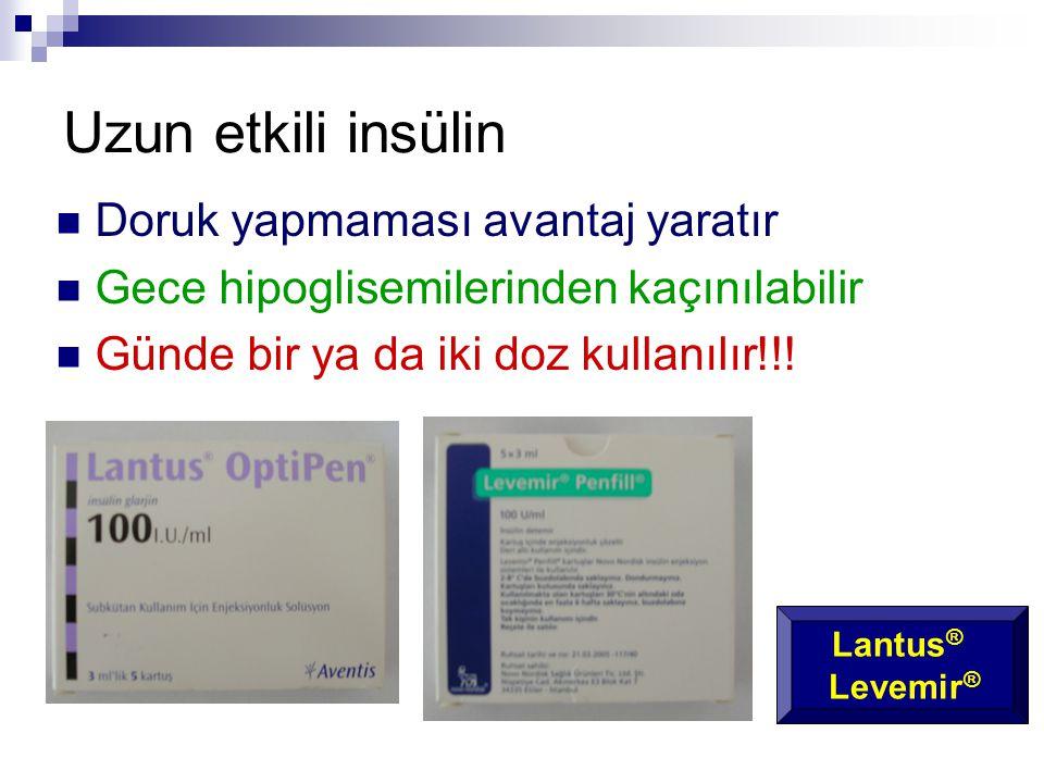 Uzun etkili insülin Doruk yapmaması avantaj yaratır