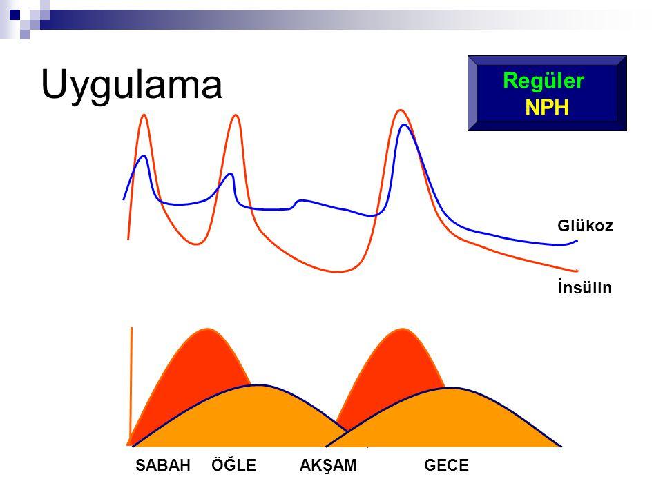 Uygulama Regüler NPH Glükoz İnsülin SABAH ÖĞLE AKŞAM GECE