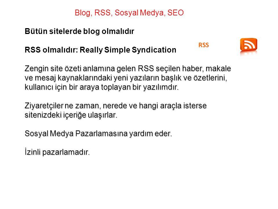 Blog, RSS, Sosyal Medya, SEO