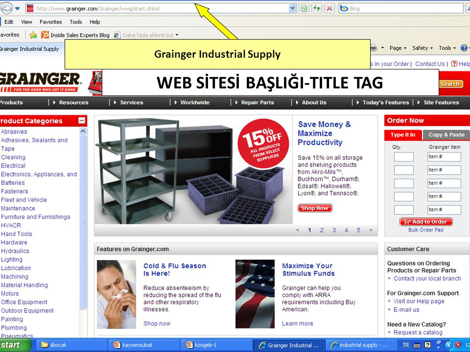 Grainger Industrial Supply WEB SİTESİ BAŞLIĞI-TITLE TAG