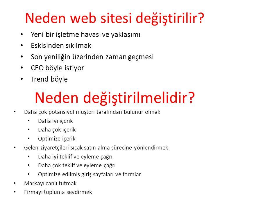 Neden web sitesi değiştirilir