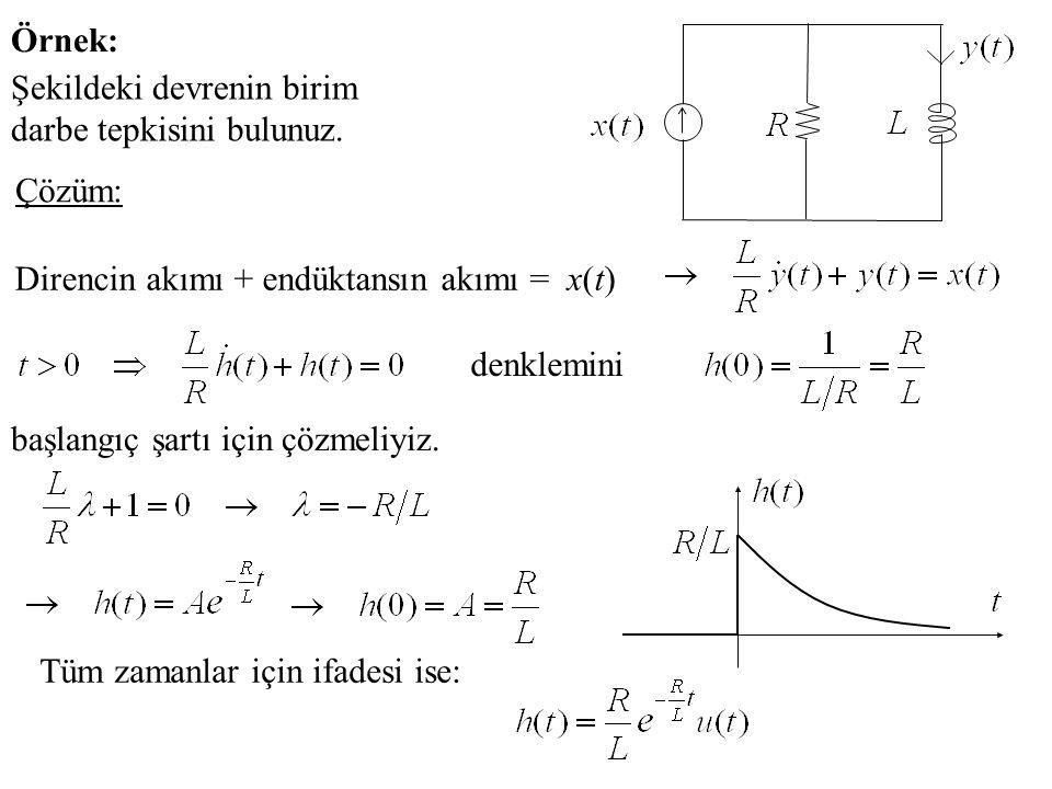 Örnek: Şekildeki devrenin birim darbe tepkisini bulunuz. Çözüm: Direncin akımı + endüktansın akımı = x(t)