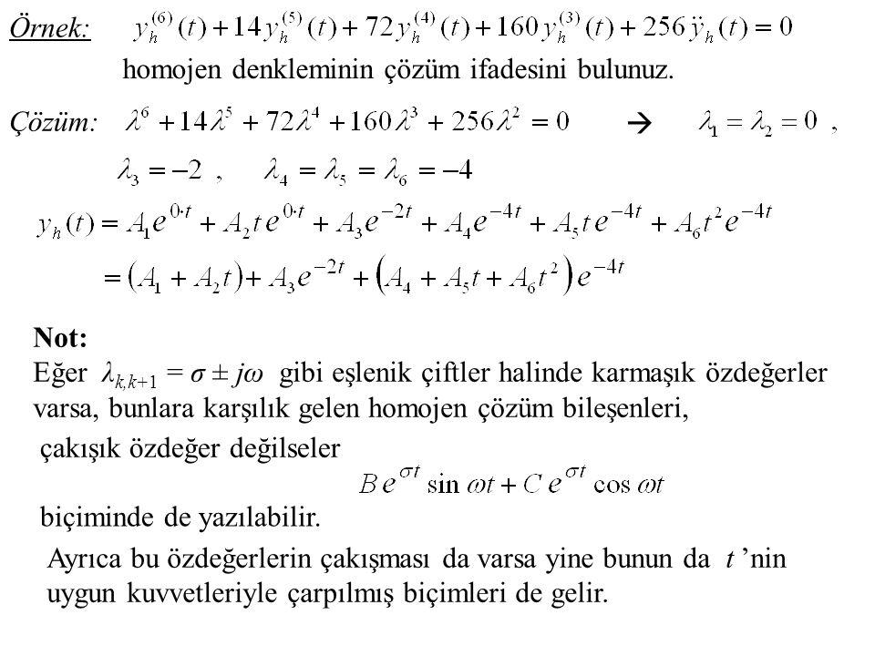 Örnek: homojen denkleminin çözüm ifadesini bulunuz. Çözüm:  Not: