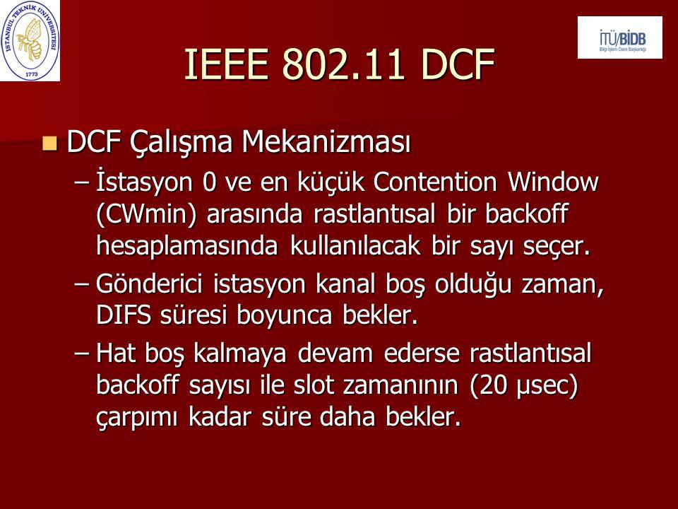 IEEE 802.11 DCF DCF Çalışma Mekanizması