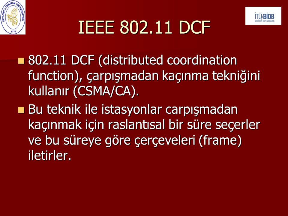 IEEE 802.11 DCF 802.11 DCF (distributed coordination function), çarpışmadan kaçınma tekniğini kullanır (CSMA/CA).