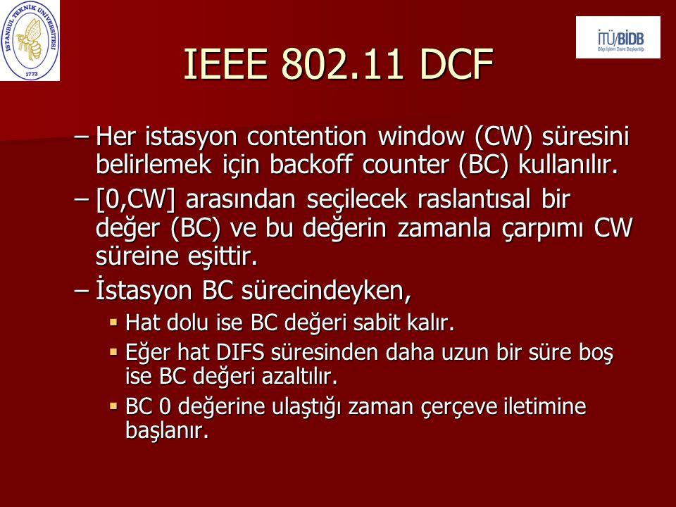 IEEE 802.11 DCF Her istasyon contention window (CW) süresini belirlemek için backoff counter (BC) kullanılır.