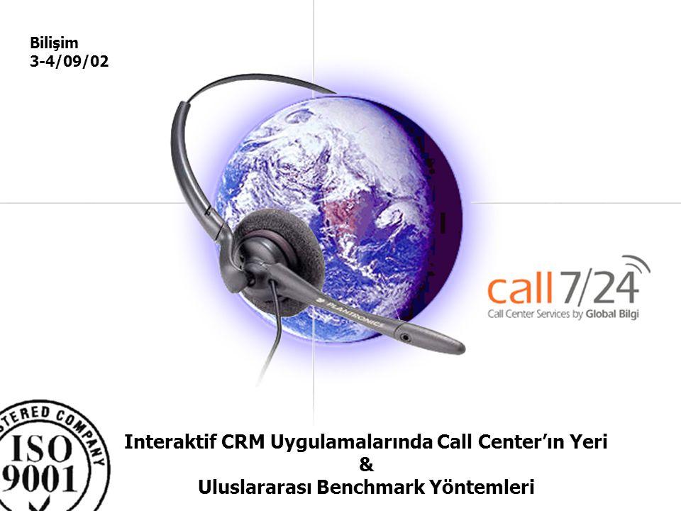 Bilişim 3-4/09/02 Interaktif CRM Uygulamalarında Call Center'ın Yeri & Uluslararası Benchmark Yöntemleri.