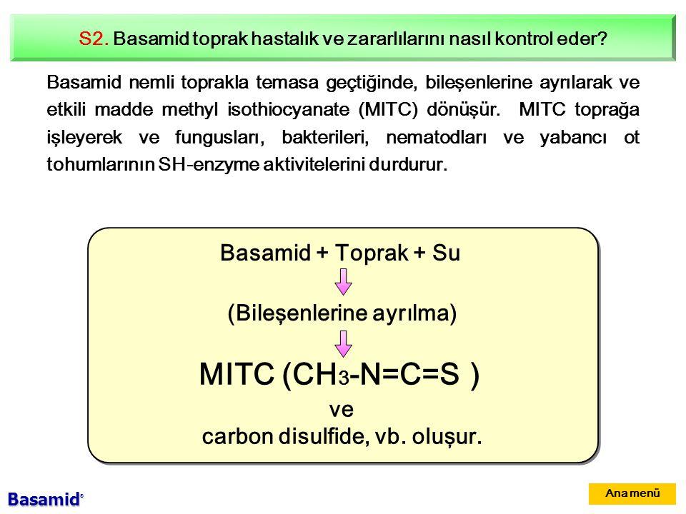 MITC (CH3-N=C=S) Basamid + Toprak + Su (Bileşenlerine ayrılma) ve