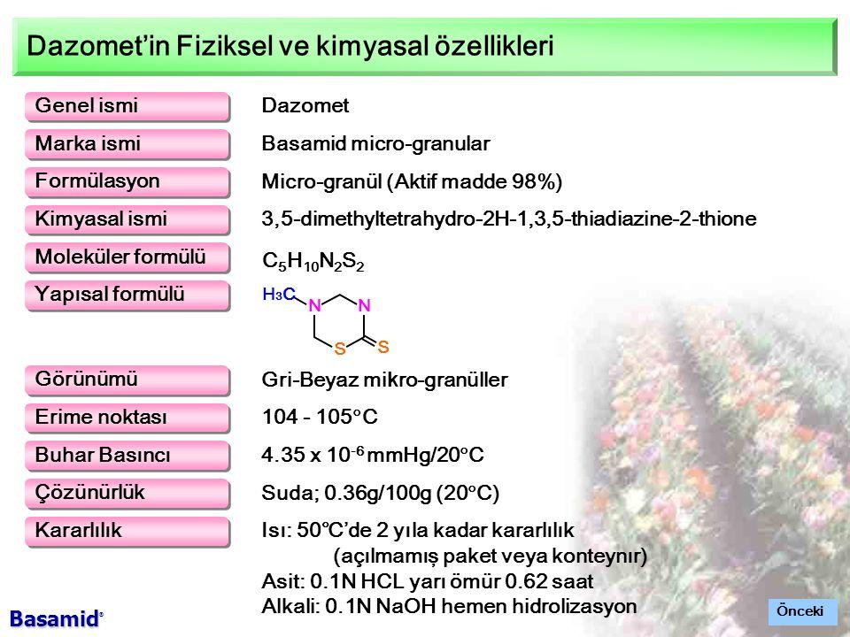 Dazomet'in Fiziksel ve kimyasal özellikleri