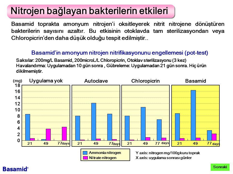 Basamid'in amonyum nitrojen nitrifikasyonunu engellemesi (pot-test)