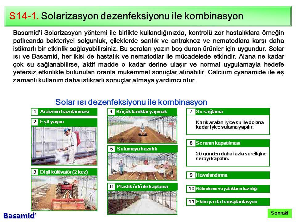 S14-1. Solarizasyon dezenfeksiyonu ile kombinasyon