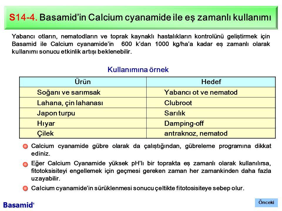 S14-4. Basamid'in Calcium cyanamide ile eş zamanlı kullanımı