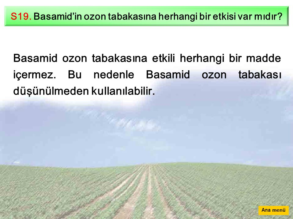 S19. Basamid'in ozon tabakasına herhangi bir etkisi var mıdır