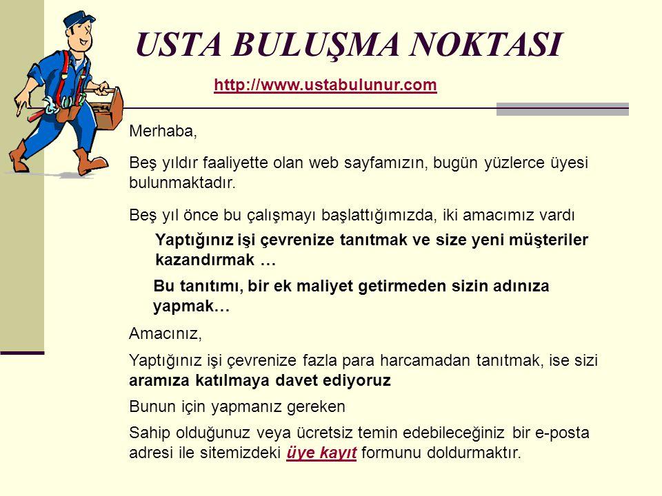 USTA BULUŞMA NOKTASI http://www.ustabulunur.com Merhaba,