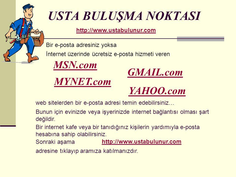 USTA BULUŞMA NOKTASI MSN.com GMAIL.com MYNET.com YAHOO.com