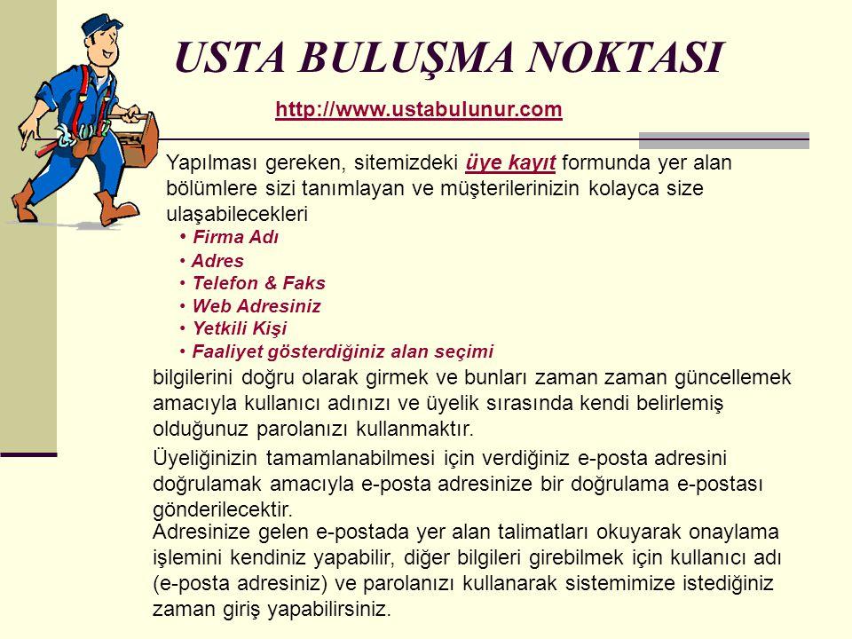 USTA BULUŞMA NOKTASI http://www.ustabulunur.com
