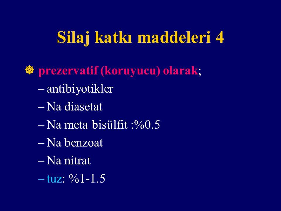 Silaj katkı maddeleri 4  prezervatif (koruyucu) olarak;