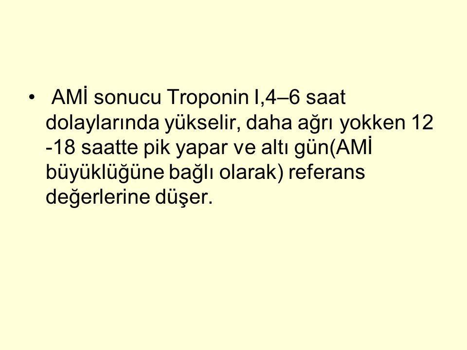AMİ sonucu Troponin I,4–6 saat dolaylarında yükselir, daha ağrı yokken 12 -18 saatte pik yapar ve altı gün(AMİ büyüklüğüne bağlı olarak) referans değerlerine düşer.