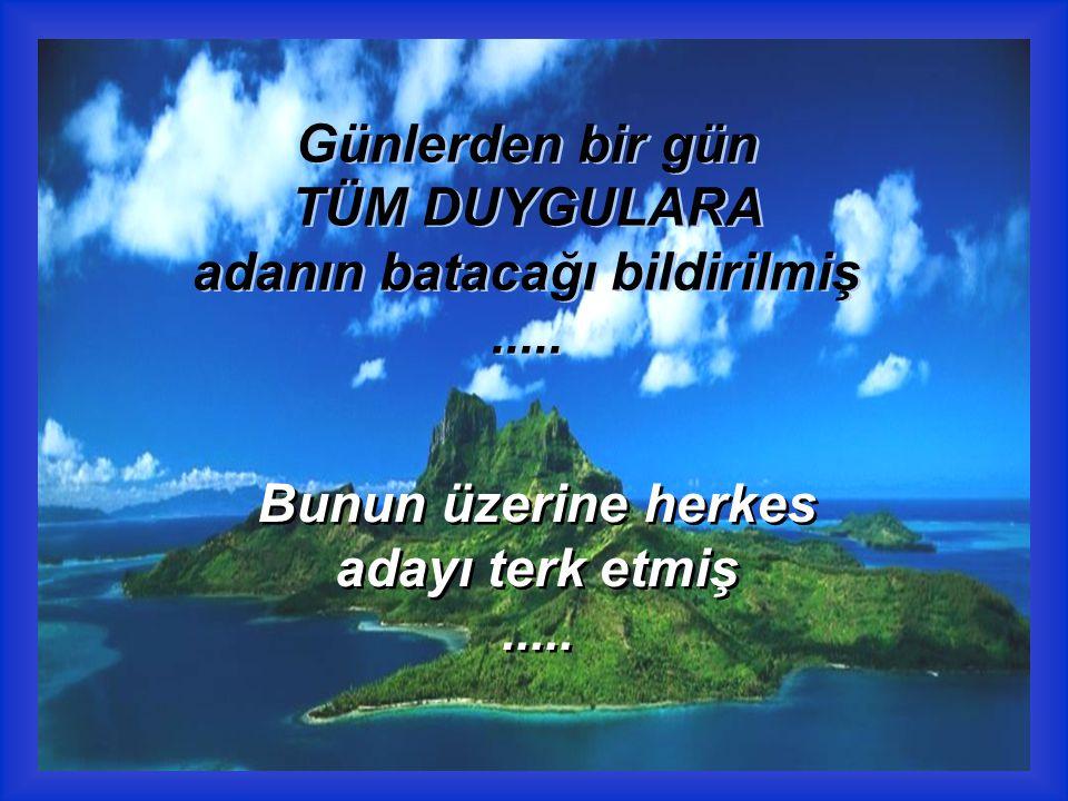 Günlerden bir gün TÜM DUYGULARA adanın batacağı bildirilmiş