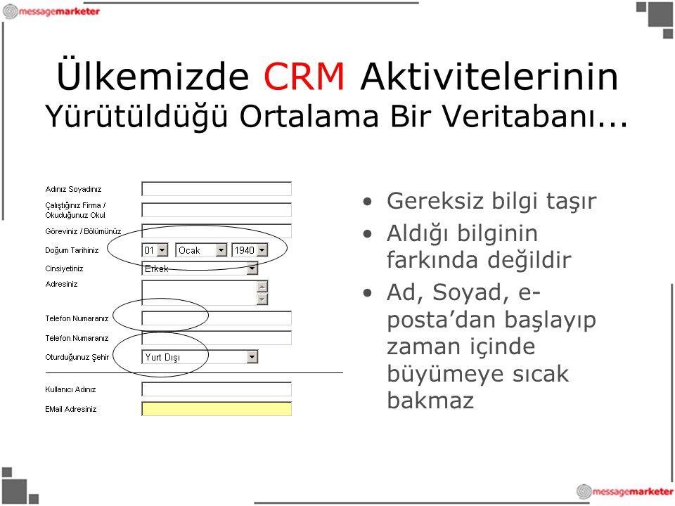 Ülkemizde CRM Aktivitelerinin Yürütüldüğü Ortalama Bir Veritabanı...