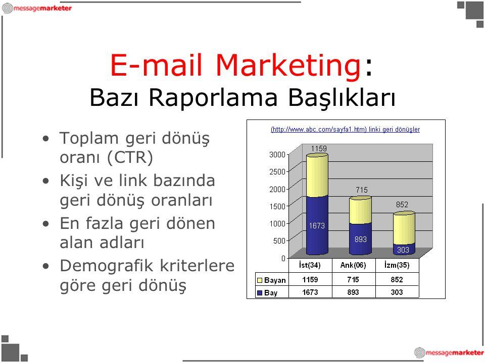 E-mail Marketing: Bazı Raporlama Başlıkları