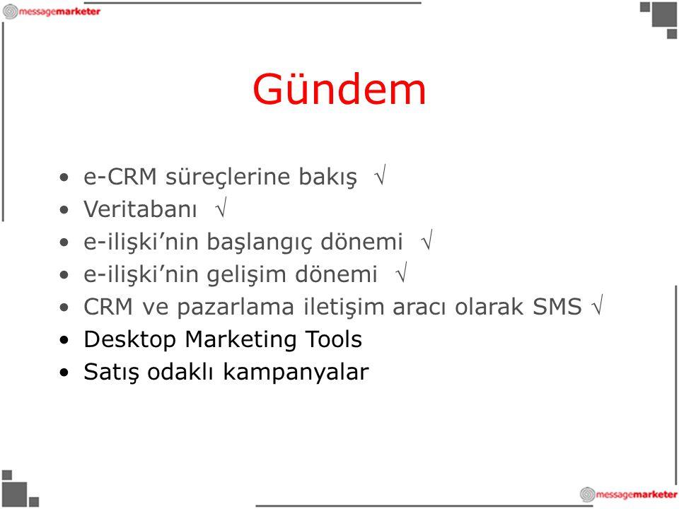 Gündem e-CRM süreçlerine bakış  Veritabanı 
