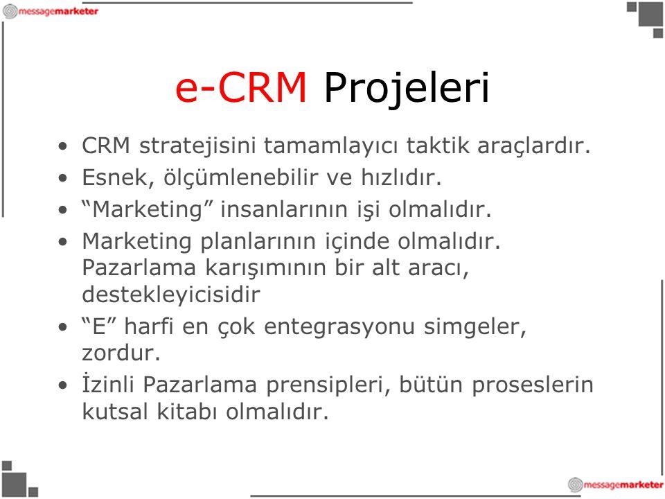 e-CRM Projeleri CRM stratejisini tamamlayıcı taktik araçlardır.