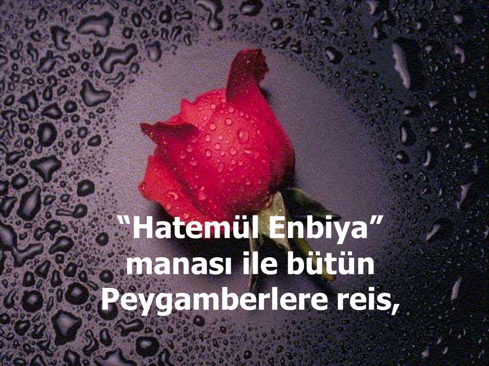 Hatemül Enbiya manası ile bütün Peygamberlere reis,
