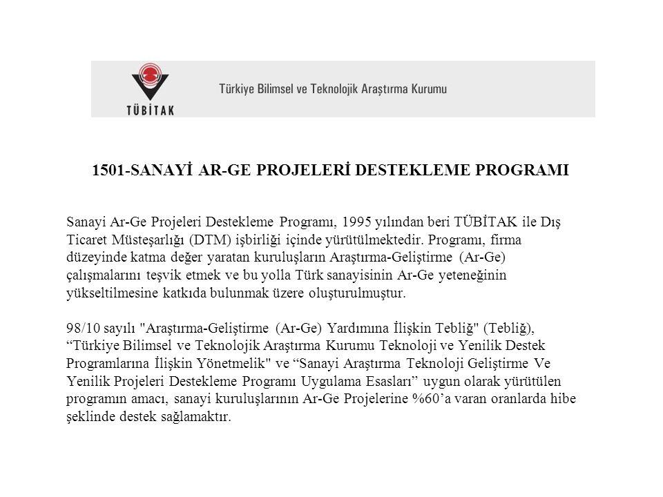 1501-SANAYİ AR-GE PROJELERİ DESTEKLEME PROGRAMI Sanayi Ar-Ge Projeleri Destekleme Programı, 1995 yılından beri TÜBİTAK ile Dış Ticaret Müsteşarlığı (DTM) işbirliği içinde yürütülmektedir.