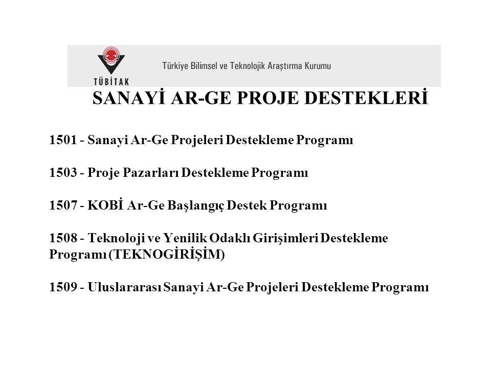SANAYİ AR-GE PROJE DESTEKLERİ 1501 - Sanayi Ar-Ge Projeleri Destekleme Programı 1503 - Proje Pazarları Destekleme Programı 1507 - KOBİ Ar-Ge Başlangıç Destek Programı 1508 - Teknoloji ve Yenilik Odaklı Girişimleri Destekleme Programı (TEKNOGİRİŞİM) 1509 - Uluslararası Sanayi Ar-Ge Projeleri Destekleme Programı
