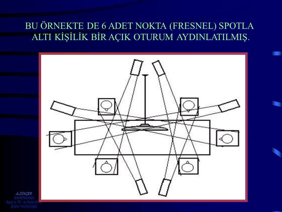 BU ÖRNEKTE DE 6 ADET NOKTA (FRESNEL) SPOTLA