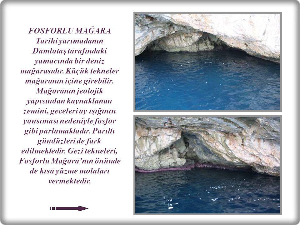 FOSFORLU MAĞARA Tarihi yarımadanın Damlataş tarafındaki yamacında bir deniz mağarasıdır.