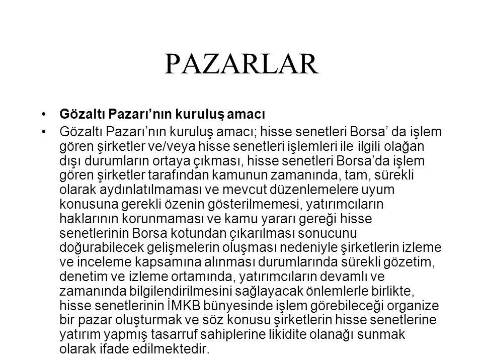 PAZARLAR Gözaltı Pazarı'nın kuruluş amacı