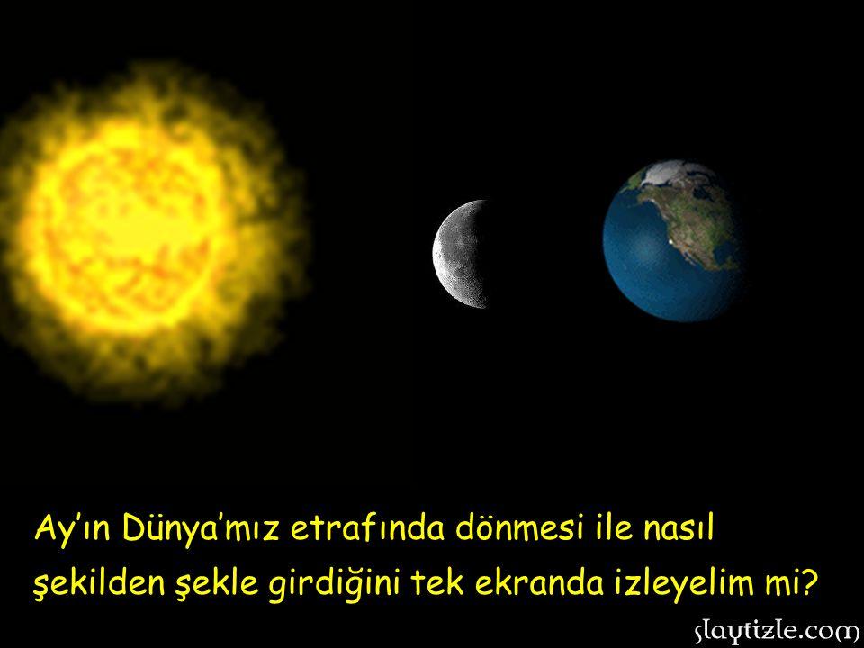 Ay'ın Dünya'mız etrafında dönmesi ile nasıl şekilden şekle girdiğini tek ekranda izleyelim mi