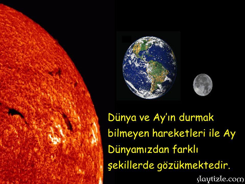 Dünya ve Ay'ın durmak bilmeyen hareketleri ile Ay Dünyamızdan farklı şekillerde gözükmektedir.