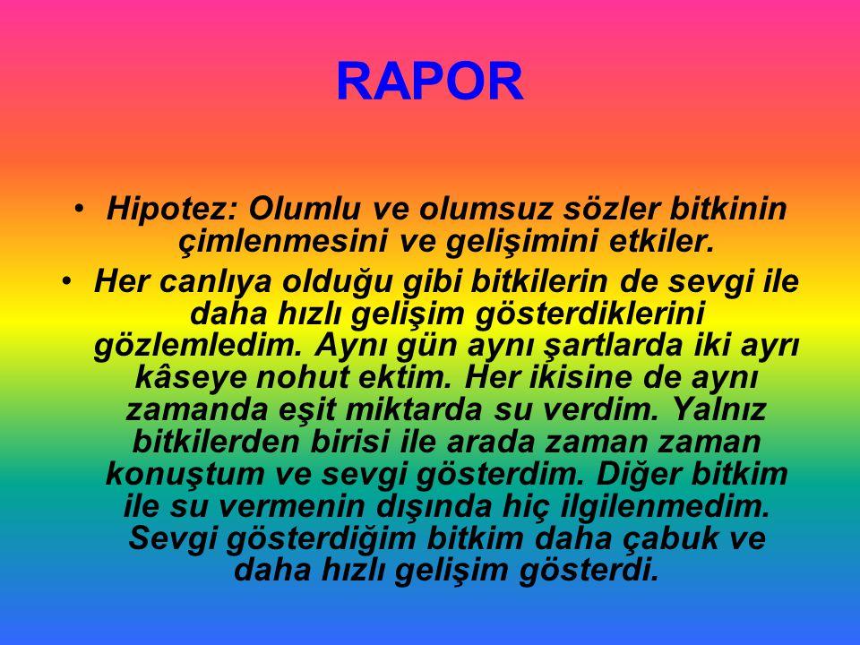 RAPOR Hipotez: Olumlu ve olumsuz sözler bitkinin çimlenmesini ve gelişimini etkiler.