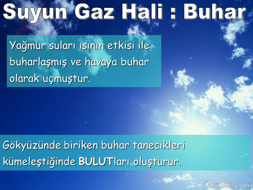 Suyun Gaz Hali : Buhar Yağmur suları ısının etkisi ile buharlaşmış ve havaya buhar olarak uçmuştur.